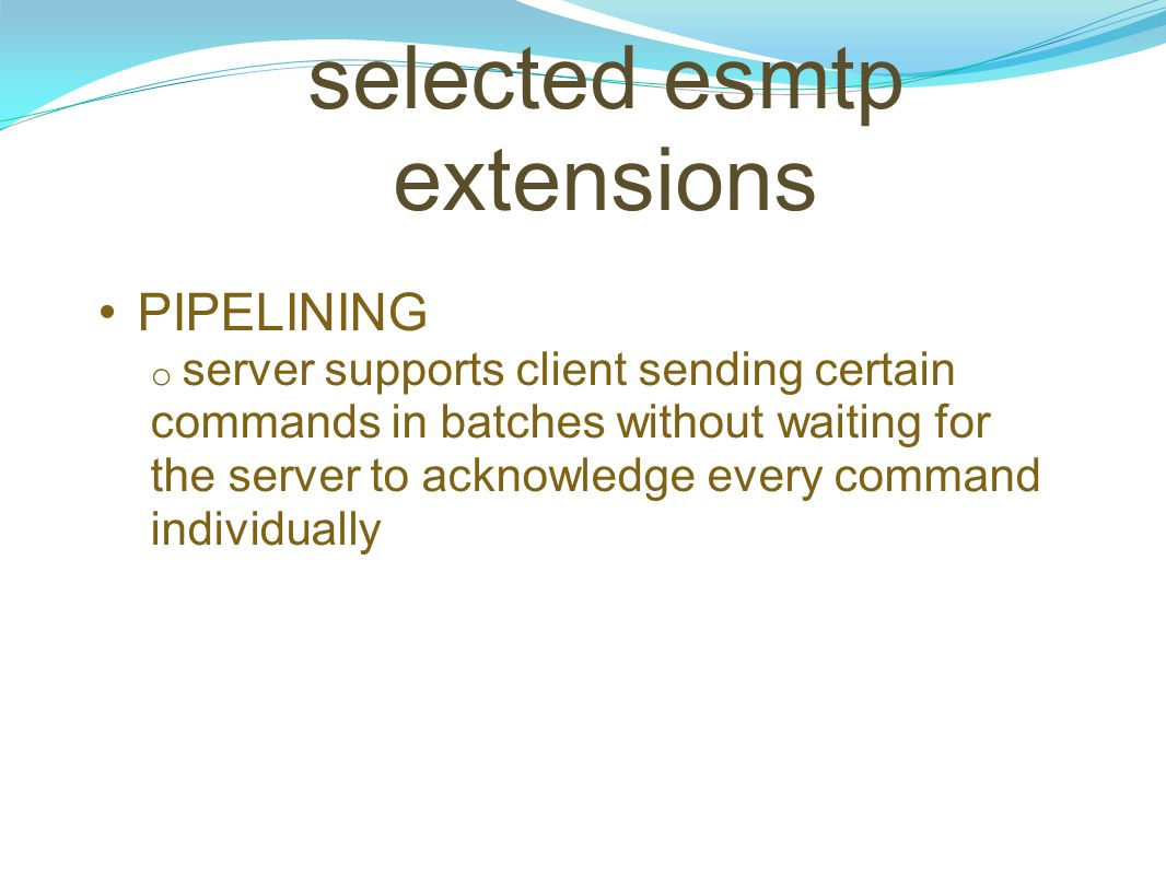 selected esmtp extensions
