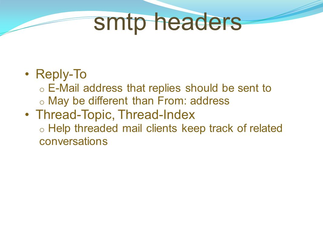 smtp headers Reply-To Thread-Topic, Thread-Index