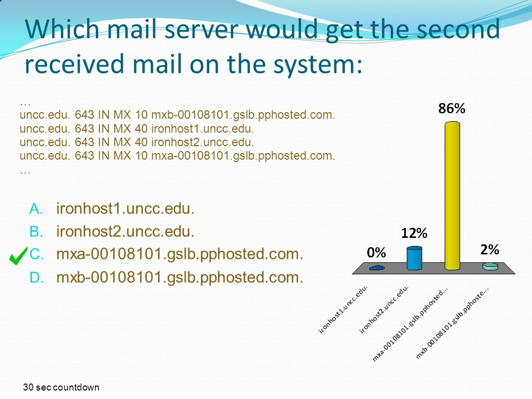 Which mail server would get the second received mail on the system: