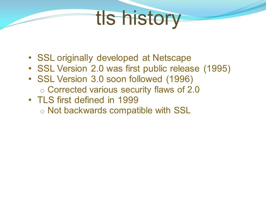 tls history SSL originally developed at Netscape