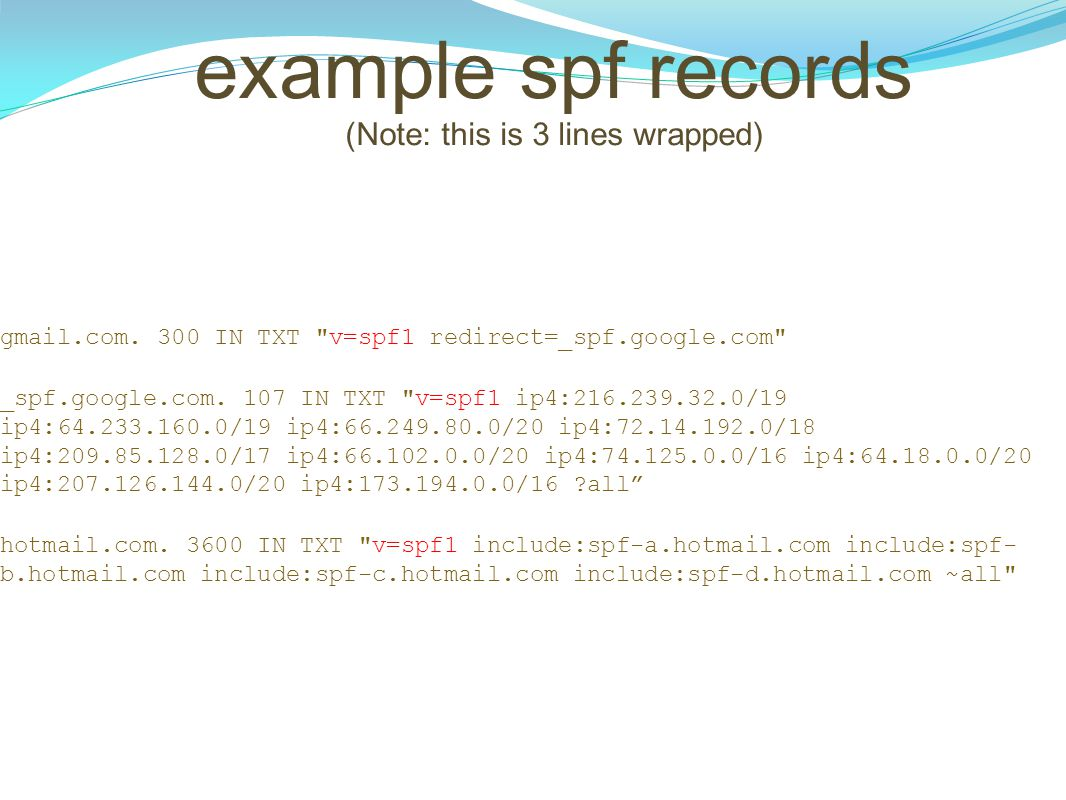 example spf records (Note: this is 3 lines wrapped)