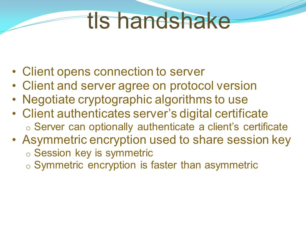 tls handshake Client opens connection to server