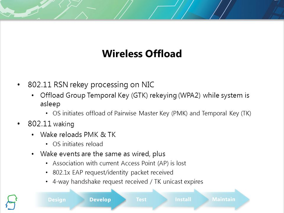 Wireless Offload 802.11 RSN rekey processing on NIC 802.11 waking