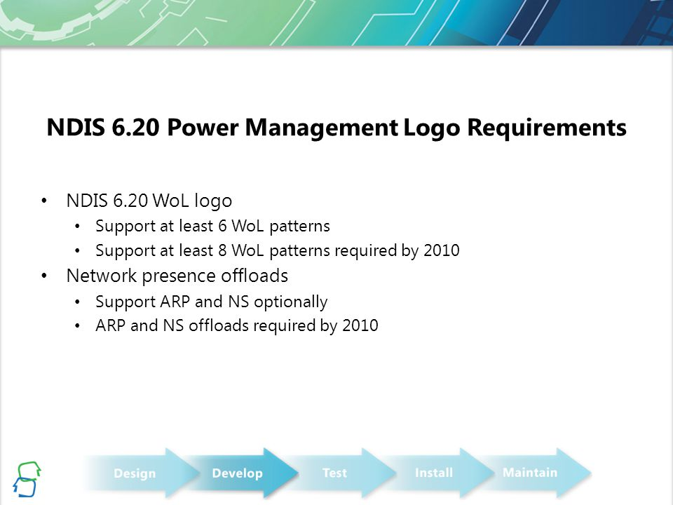 NDIS 6.20 Power Management Logo Requirements