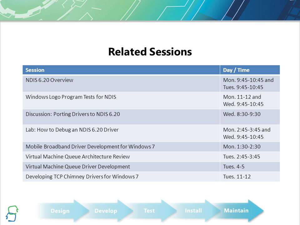 Related Sessions Session Day / Time NDIS 6.20 Overview
