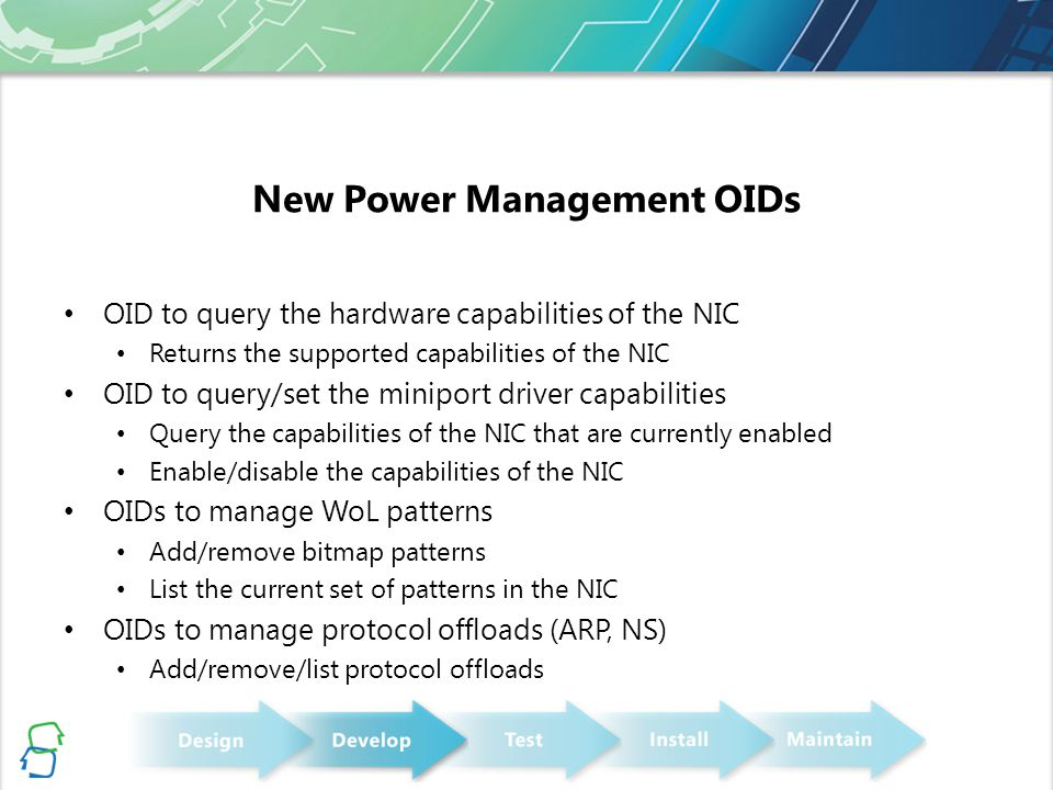 New Power Management OIDs