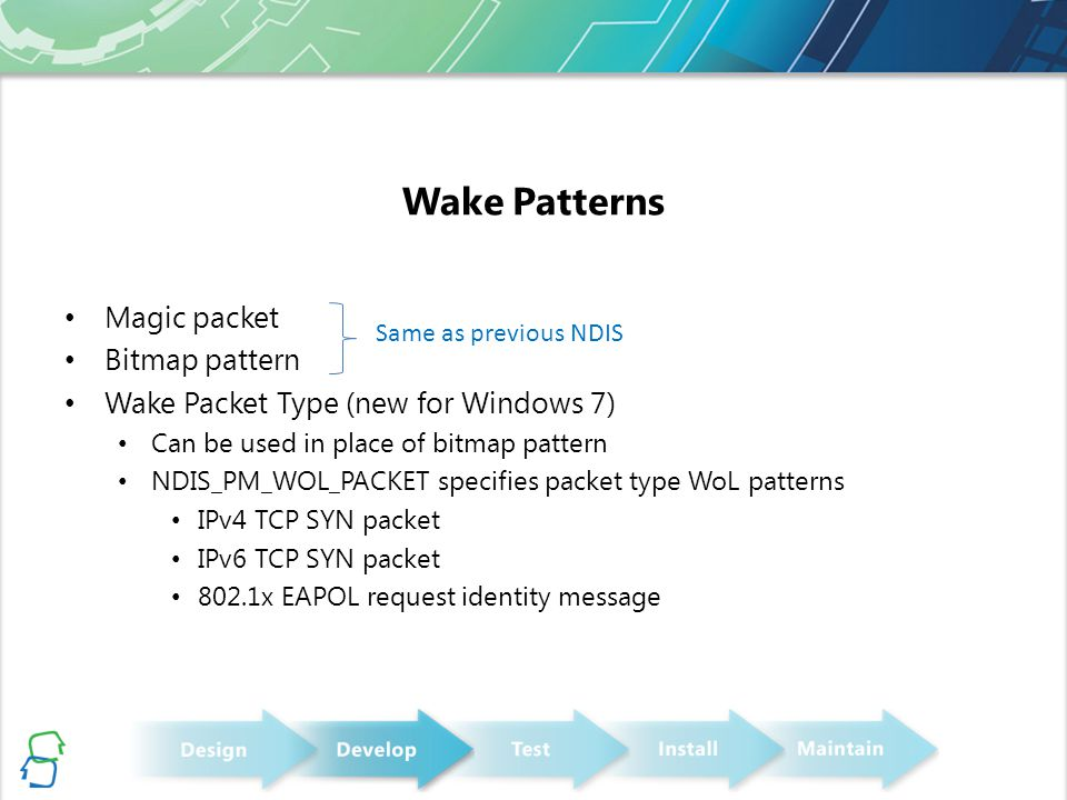 Wake Patterns Magic packet Bitmap pattern