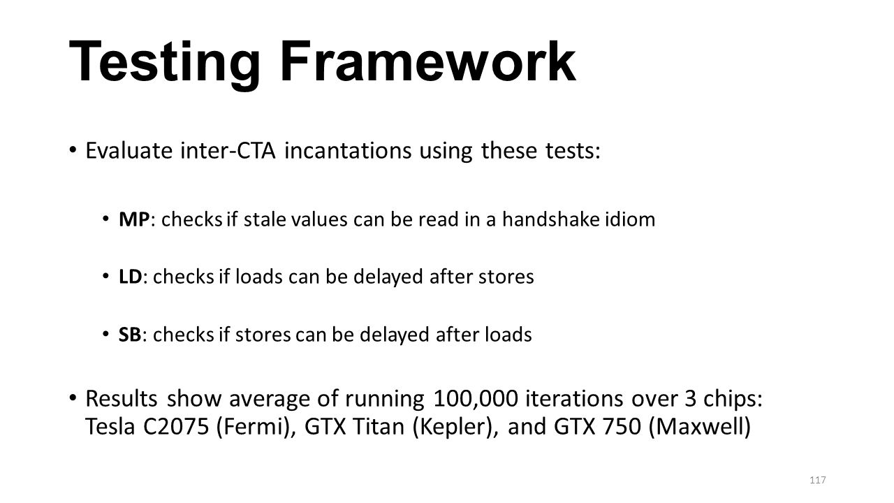 Testing Framework Evaluate inter-CTA incantations using these tests: