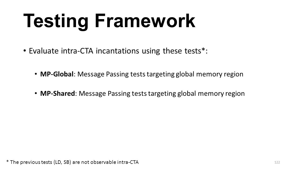 Testing Framework Evaluate intra-CTA incantations using these tests*: