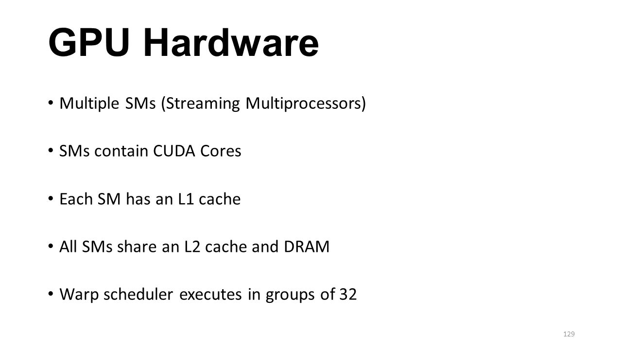 GPU Hardware Multiple SMs (Streaming Multiprocessors)