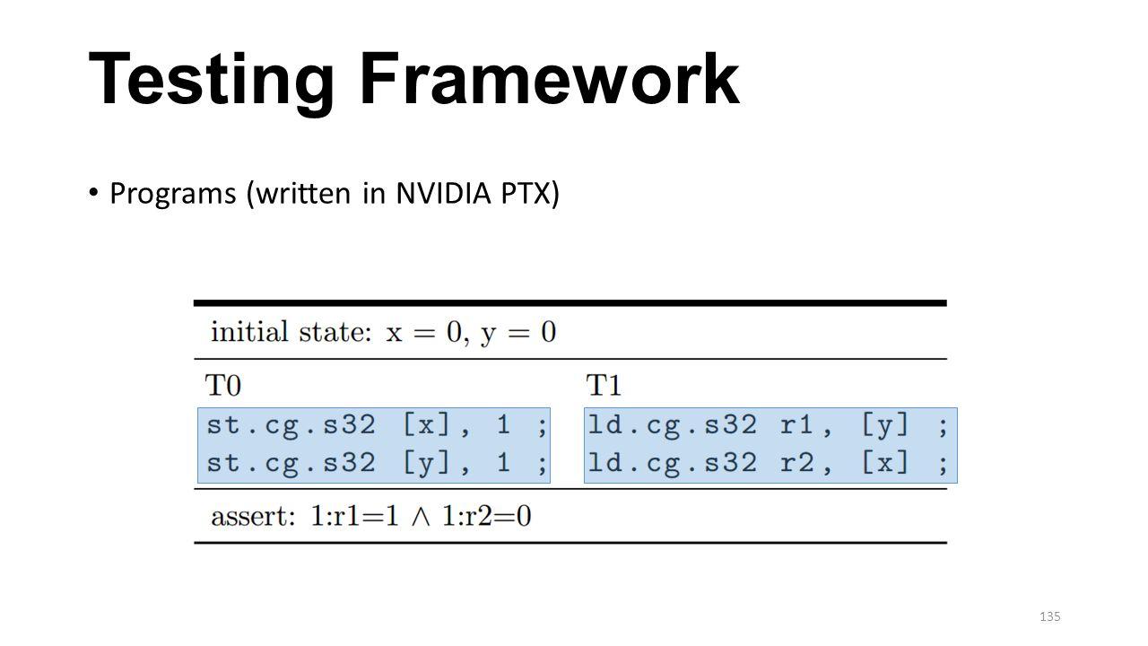 Testing Framework Programs (written in NVIDIA PTX)