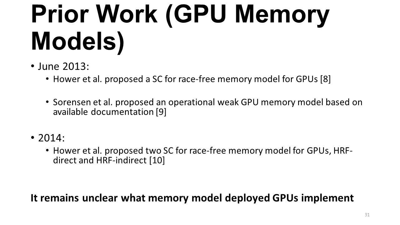 Prior Work (GPU Memory Models)