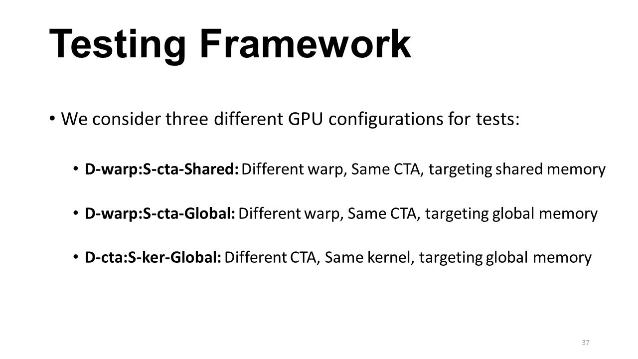 Testing Framework We consider three different GPU configurations for tests: D-warp:S-cta-Shared: Different warp, Same CTA, targeting shared memory.