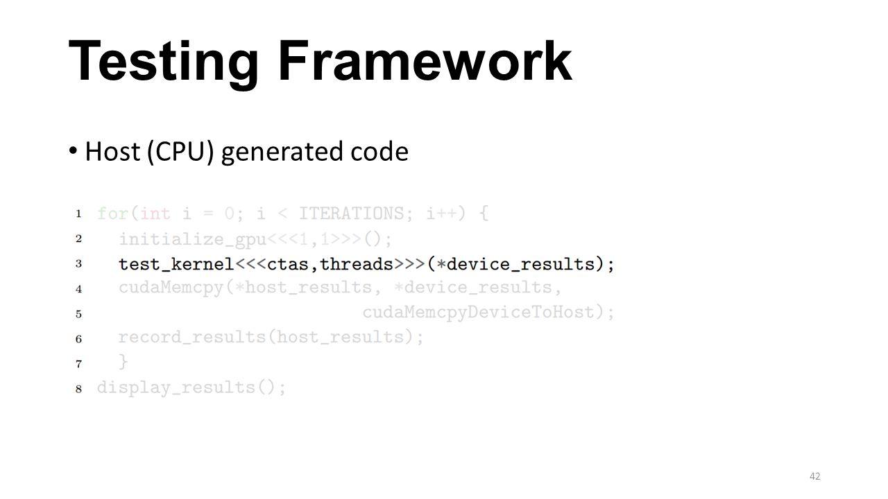 Testing Framework Host (CPU) generated code