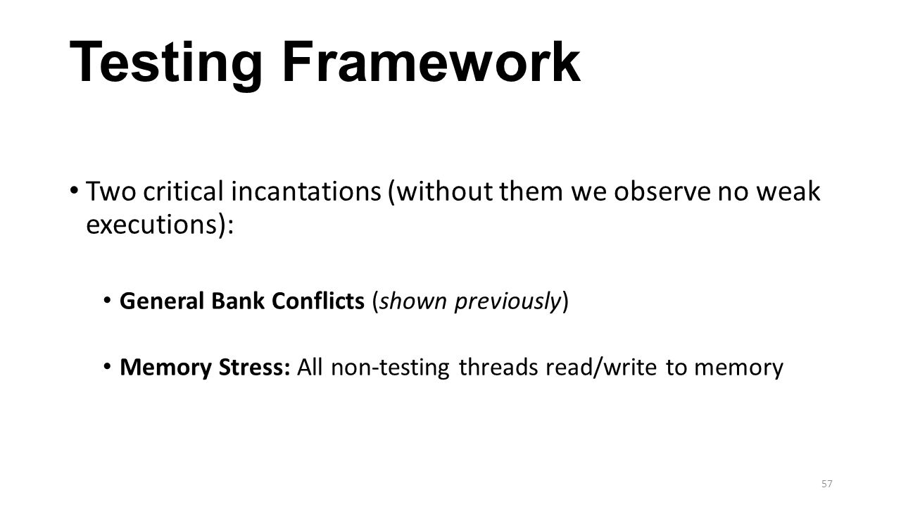 Testing Framework Two critical incantations (without them we observe no weak executions): General Bank Conflicts (shown previously)