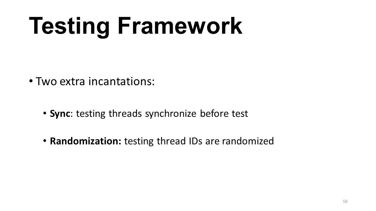 Testing Framework Two extra incantations: