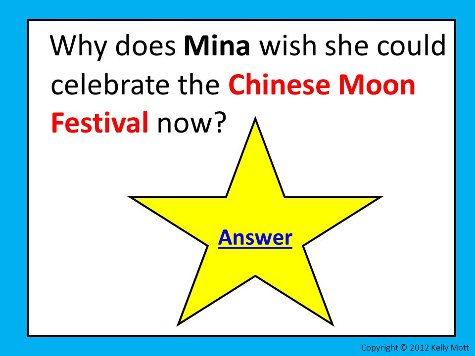 Why does Mina wish she could celebrate the Chinese Moon Festival now