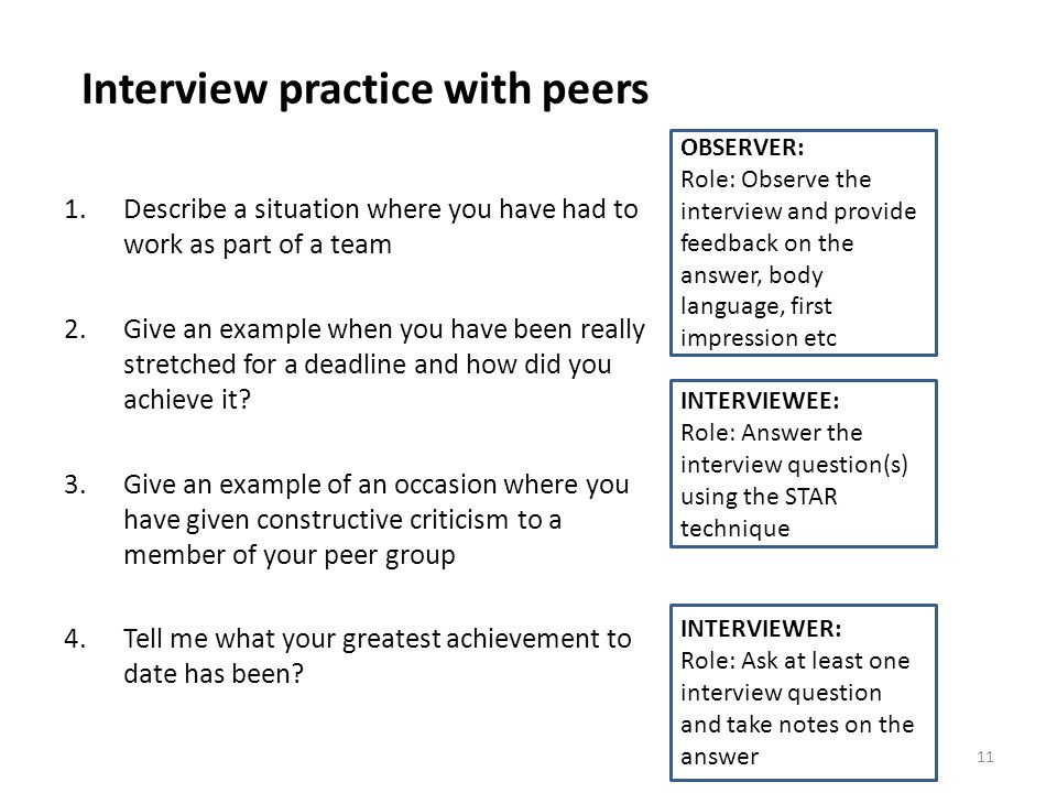 Interview practice with peers