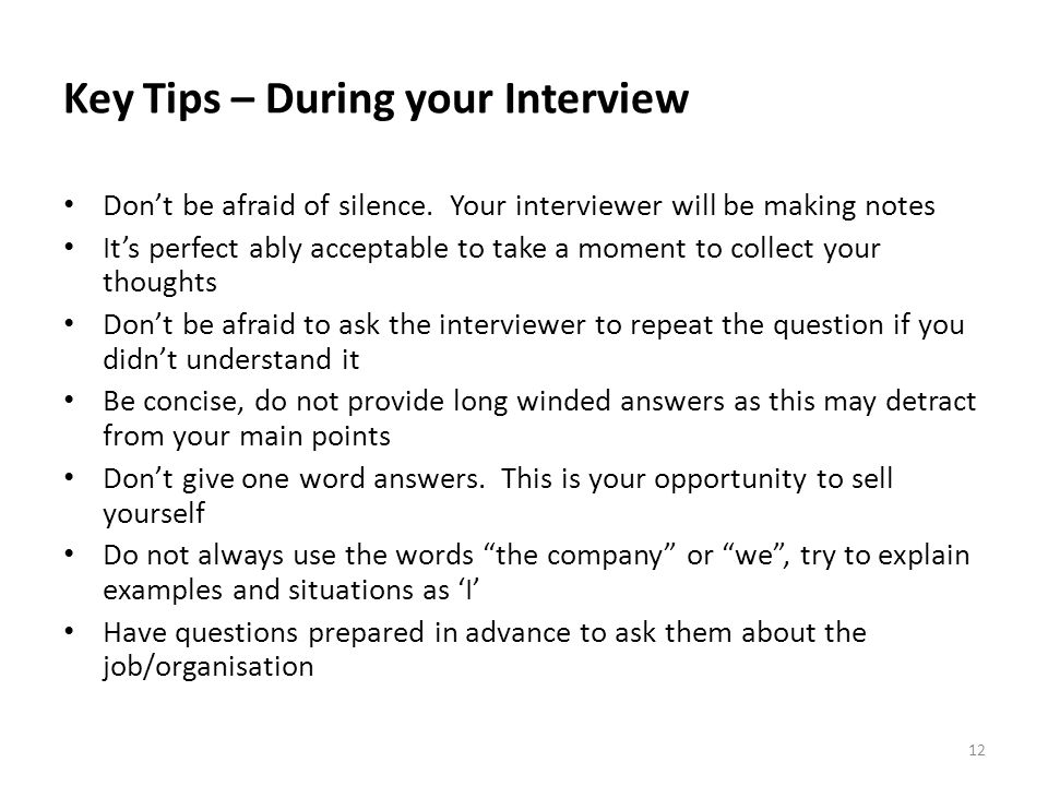 Key Tips – During your Interview
