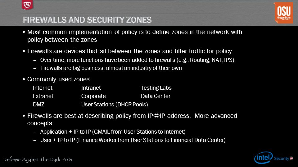 Firewalls and Security Zones