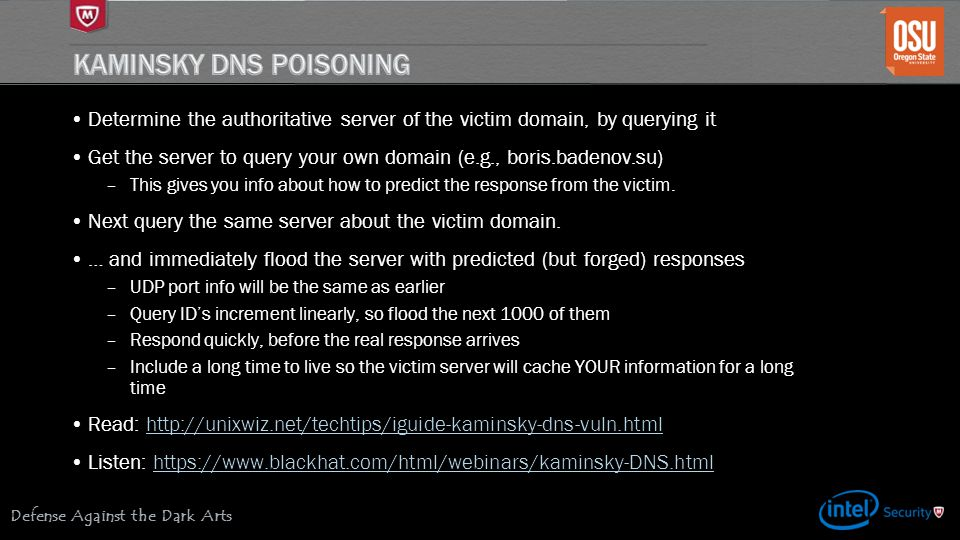 Kaminsky DNS Poisoning