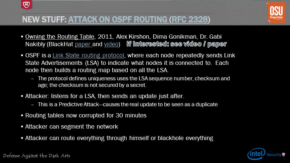 New Stuff: Attack on OSPF Routing (RFC 2328)