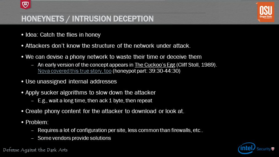 Honeynets / Intrusion Deception