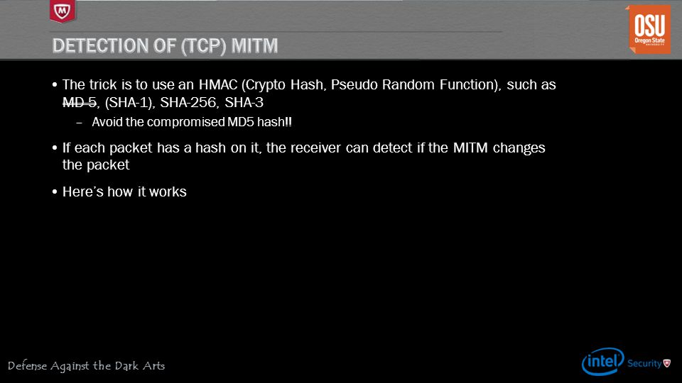 Detection of (TCP) MITM