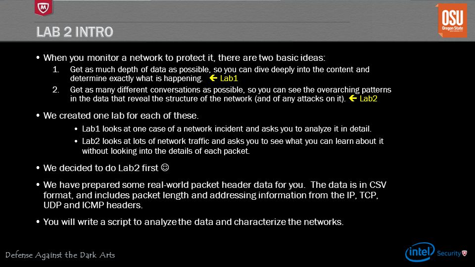 Lab 2 Intro When you monitor a network to protect it, there are two basic ideas: