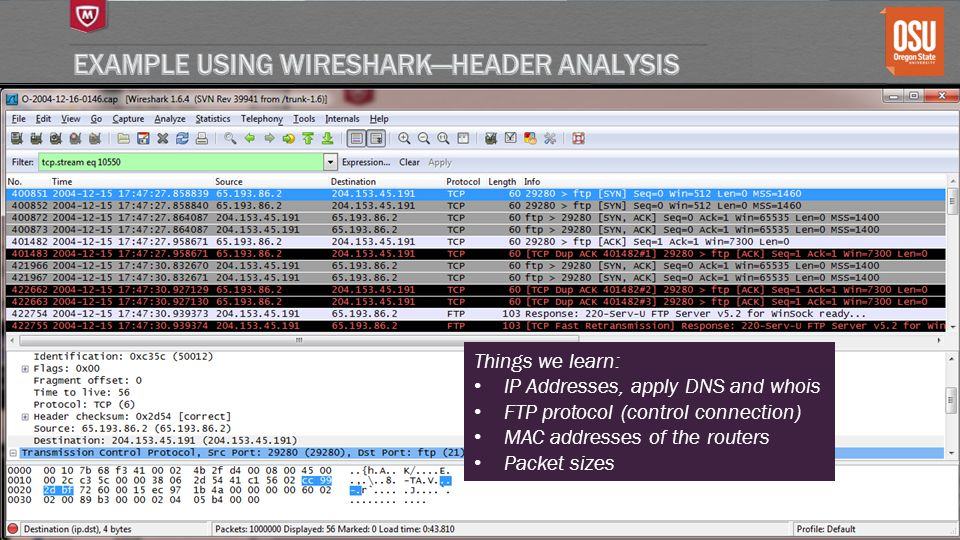 Example using Wireshark—header analysis