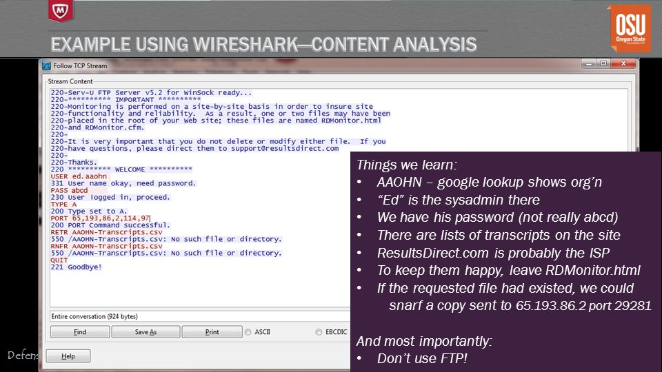 Example Using Wireshark—content analysis