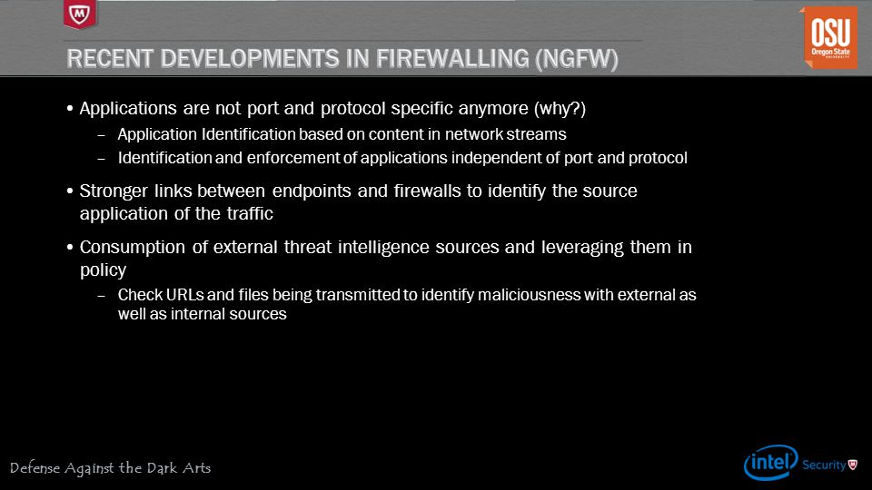 Recent Developments In Firewalling (NGFW)