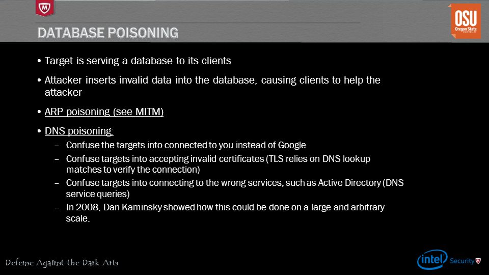 Database Poisoning Target is serving a database to its clients