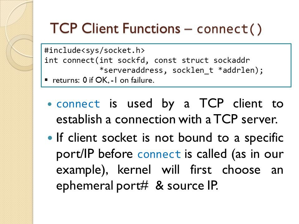 TCP Client Functions – connect()