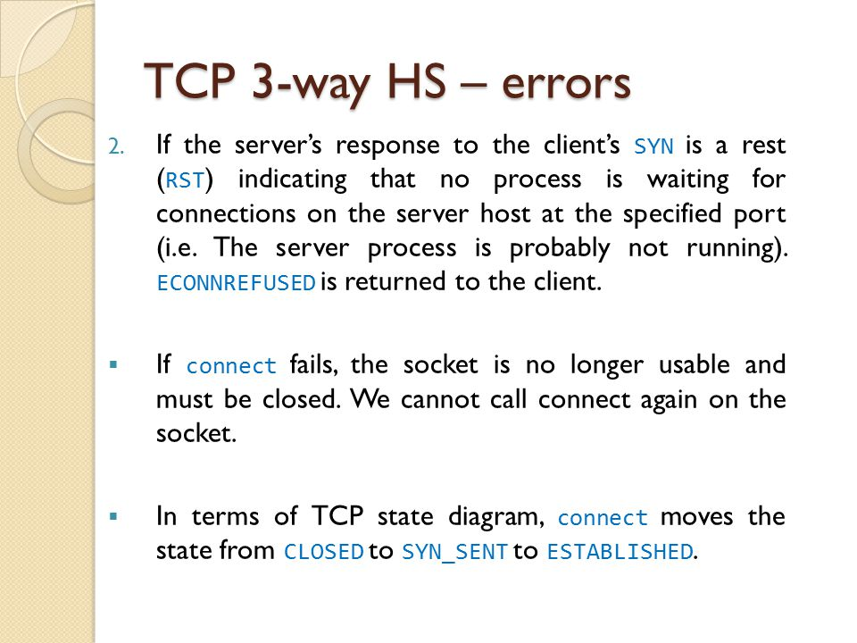 TCP 3-way HS – errors