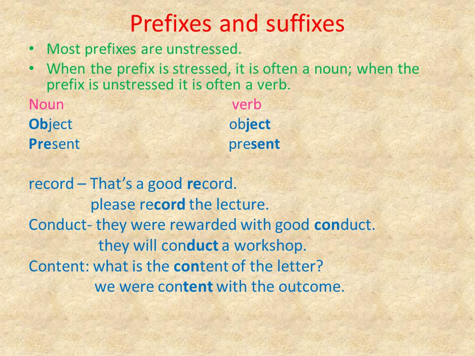 Prefixes and suffixes record – That's a good record.