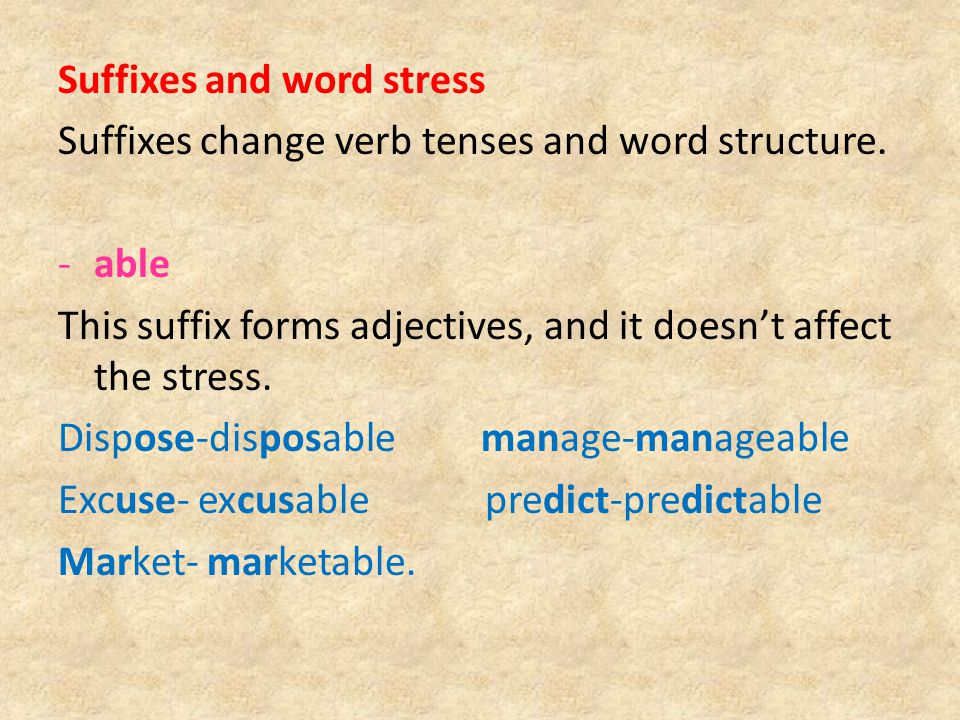 Suffixes and word stress