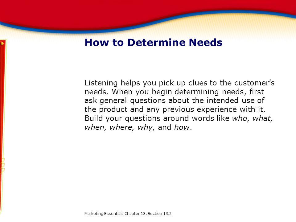 How to Determine Needs