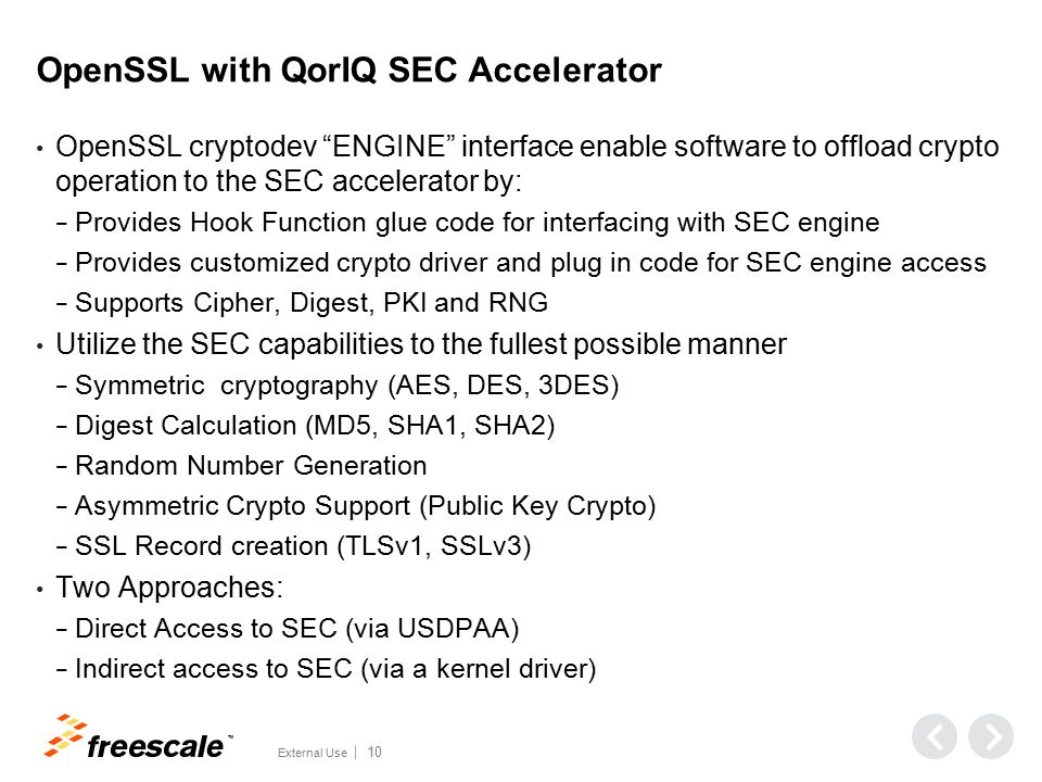 OpenSSL Features Included