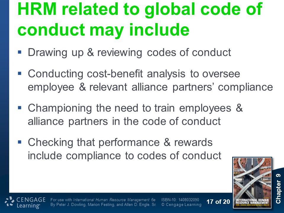 HRM related to global code of conduct may include