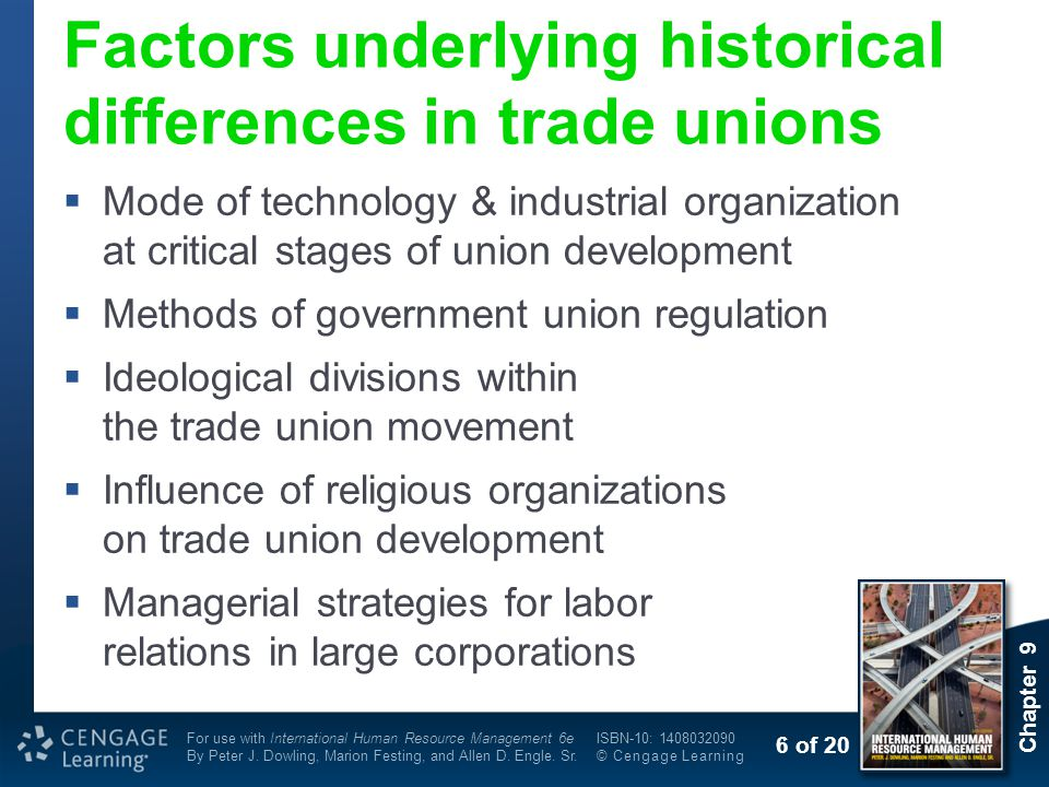 Factors underlying historical differences in trade unions