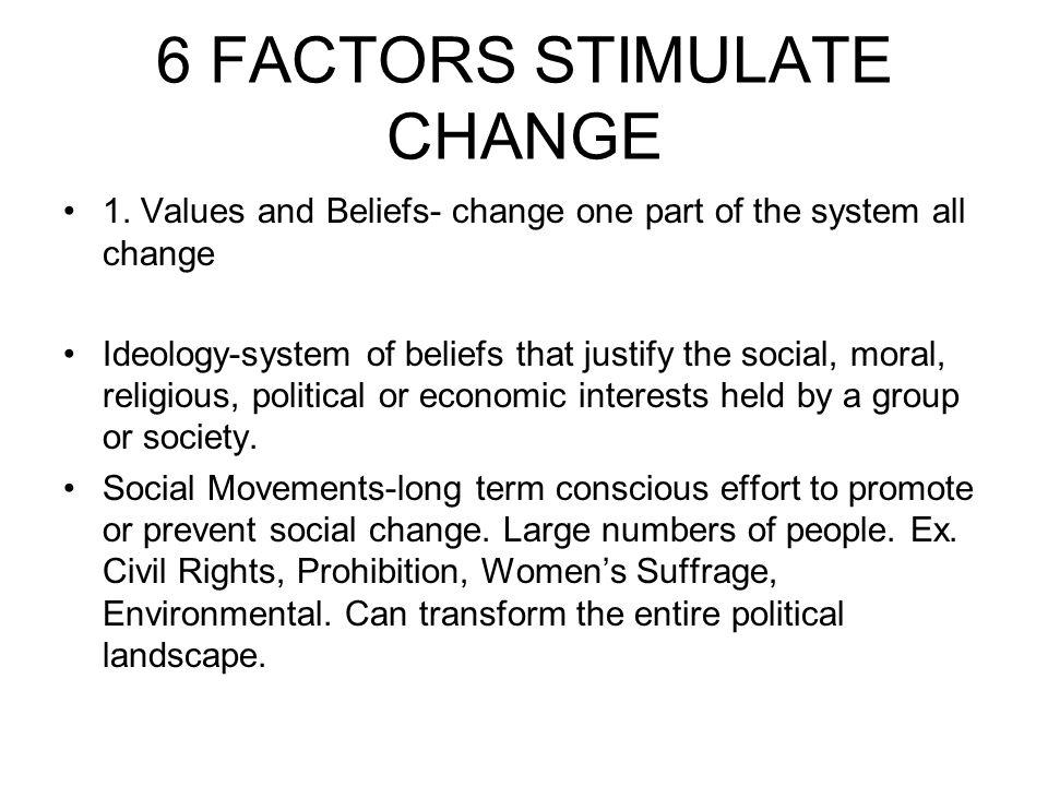 6 FACTORS STIMULATE CHANGE