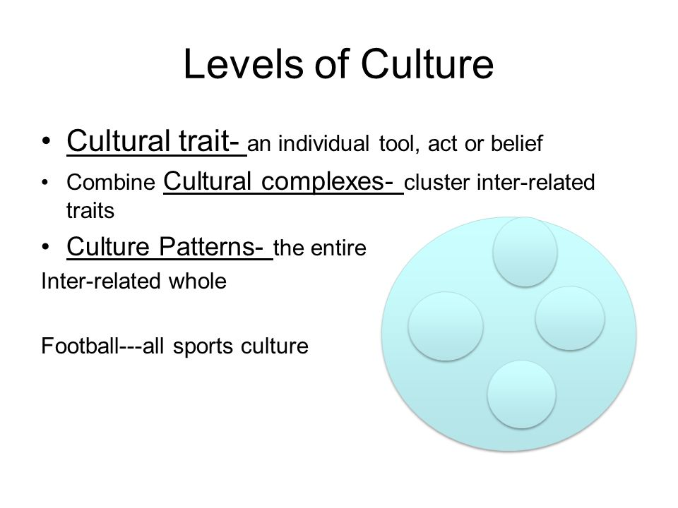Levels of Culture Cultural trait- an individual tool, act or belief