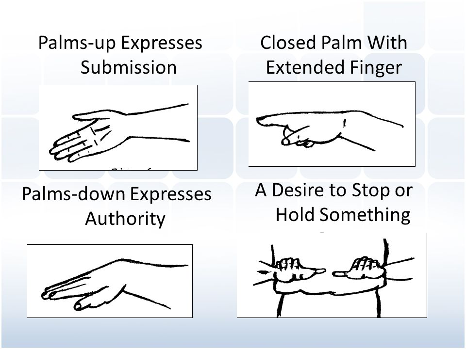 Palms-up Expresses Submission Closed Palm With Extended Finger