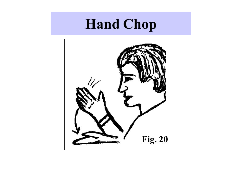 Hand Chop -An aggressive gesture that speakers sometimes use when they want to accent what is being said.