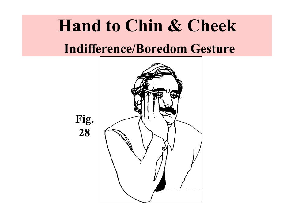 Hand to Chin & Cheek Indifference/Boredom Gesture