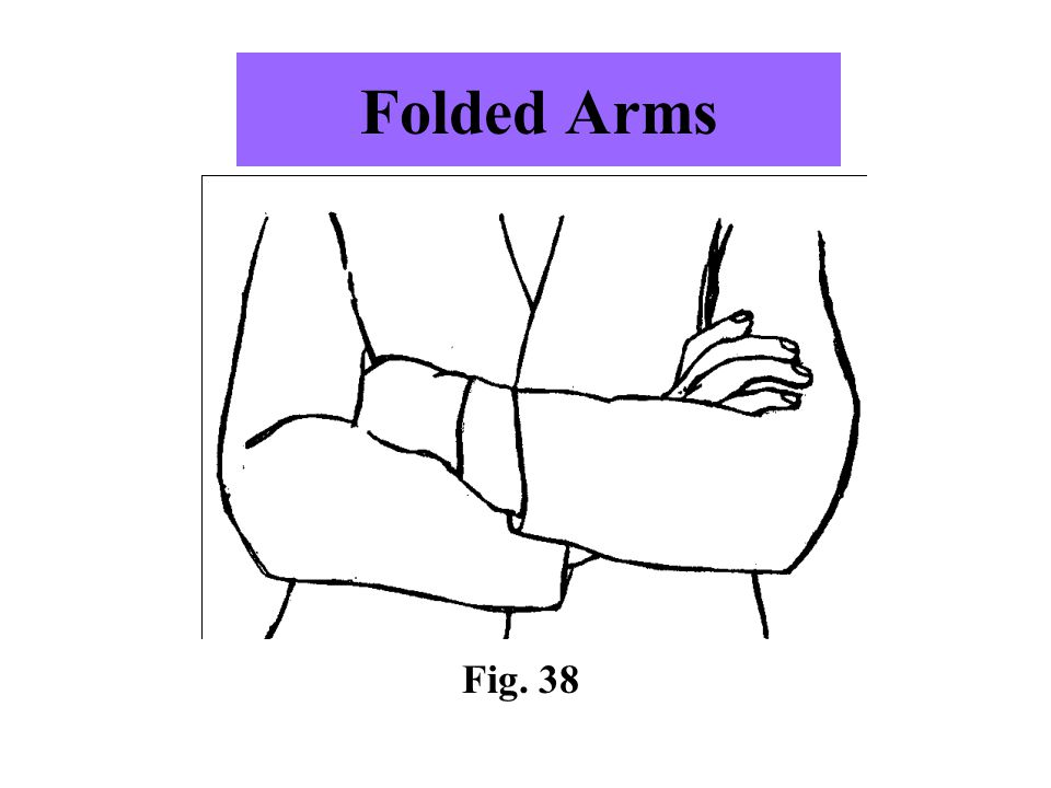 Folded Arms -A common posture whereby an individual will casually fold arms across the chest. -Posture may be in response to the cold.