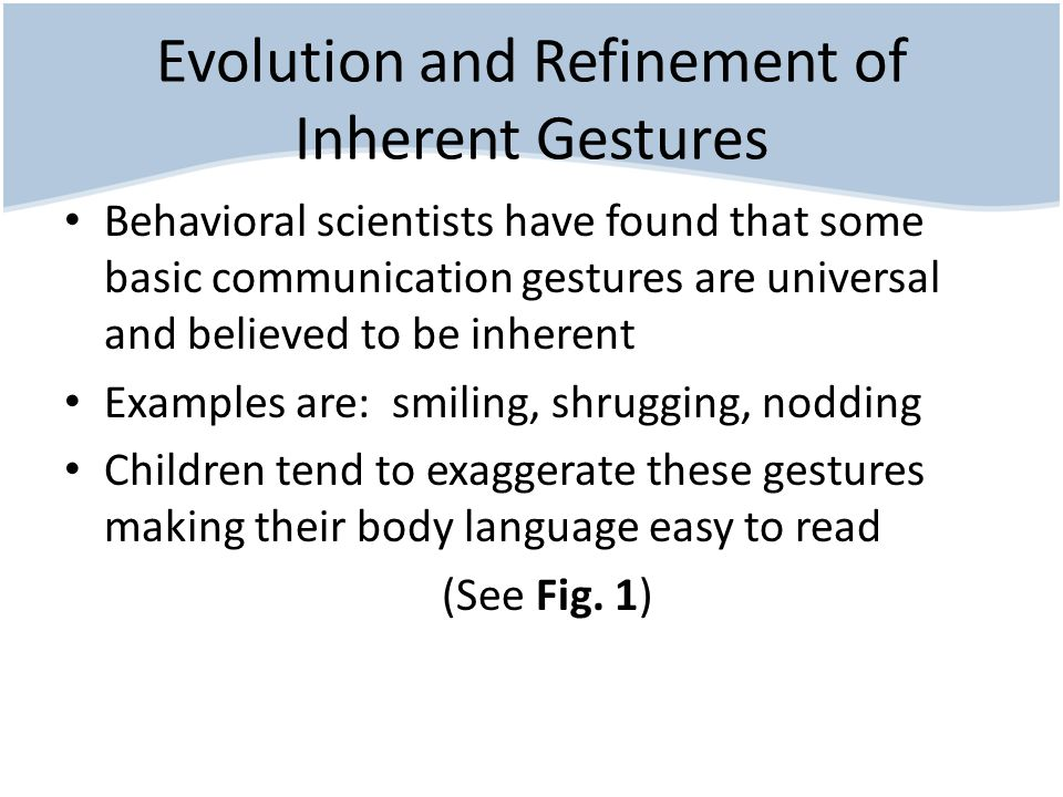 Evolution and Refinement of Inherent Gestures