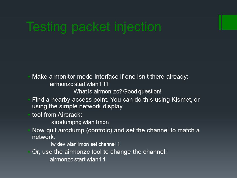Testing packet injection