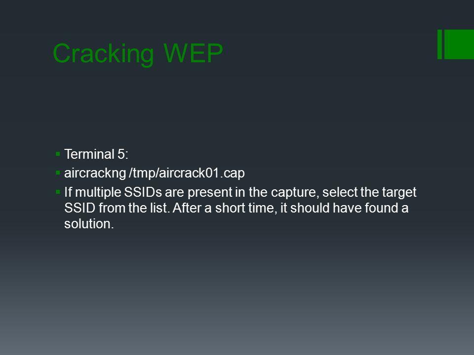 Cracking WEP Terminal 5: aircrackng /tmp/aircrack01.cap